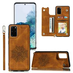 Luxury Mandala Multi-function Magnetic Card Slots Stand Leather Back Cover for Samsung Galaxy S20 Plus / S11 - Brown