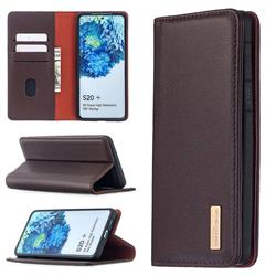 Binfen Color BF06 Luxury Classic Genuine Leather Detachable Magnet Holster Cover for Samsung Galaxy S20 Plus / S11 - Dark Brown