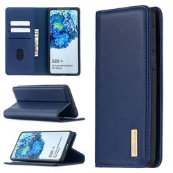 Binfen Color BF06 Luxury Classic Genuine Leather Detachable Magnet Holster Cover for Samsung Galaxy S20 Plus / S11 - Blue