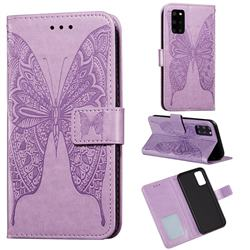 Intricate Embossing Vivid Butterfly Leather Wallet Case for Samsung Galaxy S20 Plus / S11 - Purple