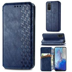 Ultra Slim Fashion Business Card Magnetic Automatic Suction Leather Flip Cover for Samsung Galaxy S20 Plus / S11 - Dark Blue