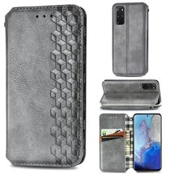 Ultra Slim Fashion Business Card Magnetic Automatic Suction Leather Flip Cover for Samsung Galaxy S20 Plus / S11 - Grey