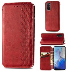 Ultra Slim Fashion Business Card Magnetic Automatic Suction Leather Flip Cover for Samsung Galaxy S20 Plus / S11 - Red