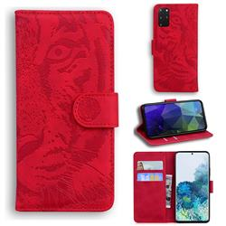 Intricate Embossing Tiger Face Leather Wallet Case for Samsung Galaxy S20 Plus / S11 - Red