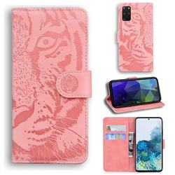 Intricate Embossing Tiger Face Leather Wallet Case for Samsung Galaxy S20 Plus / S11 - Pink