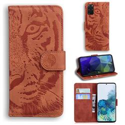 Intricate Embossing Tiger Face Leather Wallet Case for Samsung Galaxy S20 Plus / S11 - Brown