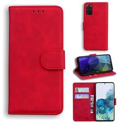 Retro Classic Skin Feel Leather Wallet Phone Case for Samsung Galaxy S20 Plus / S11 - Red