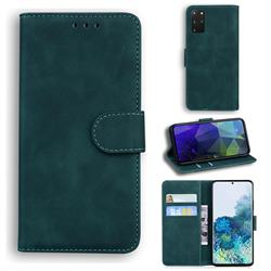 Retro Classic Skin Feel Leather Wallet Phone Case for Samsung Galaxy S20 Plus / S11 - Green