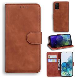 Retro Classic Skin Feel Leather Wallet Phone Case for Samsung Galaxy S20 Plus / S11 - Brown