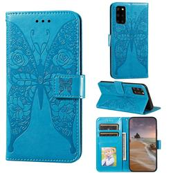 Intricate Embossing Rose Flower Butterfly Leather Wallet Case for Samsung Galaxy S20 Plus - Blue
