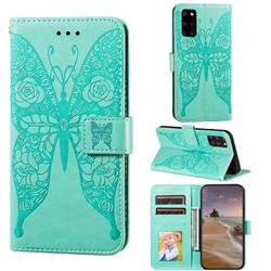 Intricate Embossing Rose Flower Butterfly Leather Wallet Case for Samsung Galaxy S20 Plus - Green