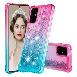 Rainbow Gradient Liquid Glitter Quicksand Sequins Phone Case for Samsung Galaxy S20 Plus - Pink Blue