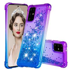 Rainbow Gradient Liquid Glitter Quicksand Sequins Phone Case for Samsung Galaxy S20 Plus - Purple Blue