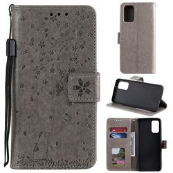 Embossing Cherry Blossom Cat Leather Wallet Case for Samsung Galaxy S20 Plus - Gray