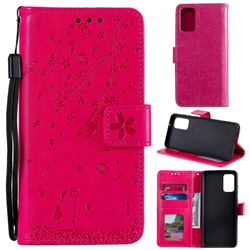 Embossing Cherry Blossom Cat Leather Wallet Case for Samsung Galaxy S20 Plus - Rose