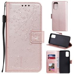 Embossing Cherry Blossom Cat Leather Wallet Case for Samsung Galaxy S20 Plus - Rose Gold