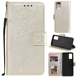 Embossing Cherry Blossom Cat Leather Wallet Case for Samsung Galaxy S20 Plus - Golden