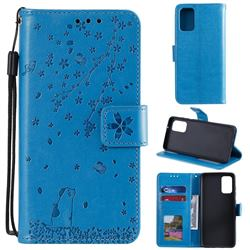 Embossing Cherry Blossom Cat Leather Wallet Case for Samsung Galaxy S20 Plus - Blue