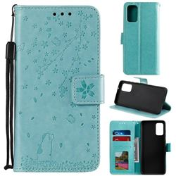 Embossing Cherry Blossom Cat Leather Wallet Case for Samsung Galaxy S20 Plus - Green