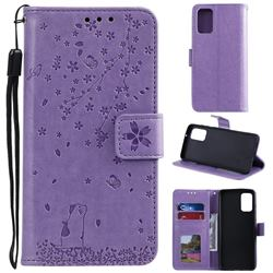 Embossing Cherry Blossom Cat Leather Wallet Case for Samsung Galaxy S20 Plus - Purple