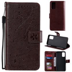 Embossing Cherry Blossom Cat Leather Wallet Case for Samsung Galaxy S20 Plus - Brown