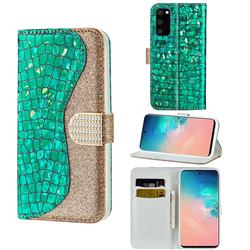 Glitter Diamond Buckle Laser Stitching Leather Wallet Phone Case for Samsung Galaxy S20 Plus - Green