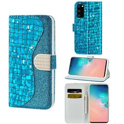 Glitter Diamond Buckle Laser Stitching Leather Wallet Phone Case for Samsung Galaxy S20 Plus - Blue
