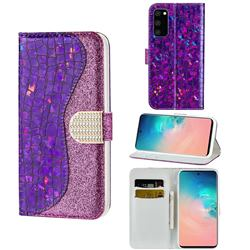 Glitter Diamond Buckle Laser Stitching Leather Wallet Phone Case for Samsung Galaxy S20 Plus - Purple