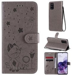 Embossing Bee and Cat Leather Wallet Case for Samsung Galaxy S20 Plus - Gray