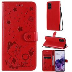 Embossing Bee and Cat Leather Wallet Case for Samsung Galaxy S20 Plus - Red