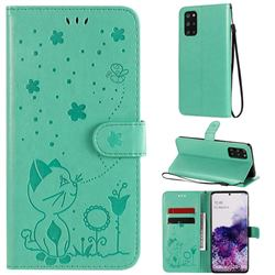 Embossing Bee and Cat Leather Wallet Case for Samsung Galaxy S20 Plus - Green