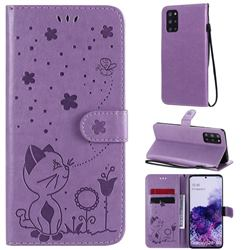 Embossing Bee and Cat Leather Wallet Case for Samsung Galaxy S20 Plus - Purple