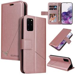 GQ.UTROBE Right Angle Silver Pendant Leather Wallet Phone Case for Samsung Galaxy S20 Plus - Rose Gold