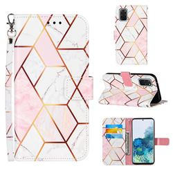 Pink White Stitching Color Marble Leather Wallet Case for Samsung Galaxy S20 Plus