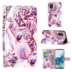 Dream Purple Stitching Color Marble Leather Wallet Case for Samsung Galaxy S20 Plus