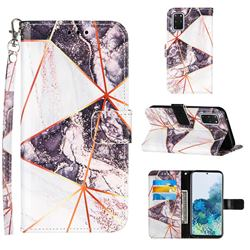 Black and White Stitching Color Marble Leather Wallet Case for Samsung Galaxy S20 Plus
