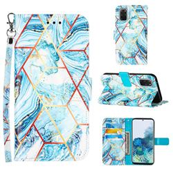 Lake Blue Stitching Color Marble Leather Wallet Case for Samsung Galaxy S20 Plus
