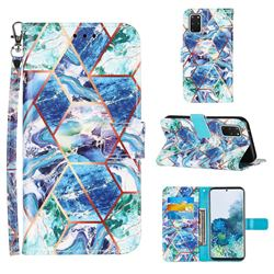 Green and Blue Stitching Color Marble Leather Wallet Case for Samsung Galaxy S20 Plus