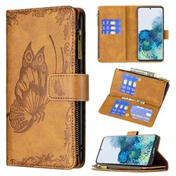 Binfen Color Imprint Vivid Butterfly Buckle Zipper Multi-function Leather Phone Wallet for Samsung Galaxy S20 Plus - Brown