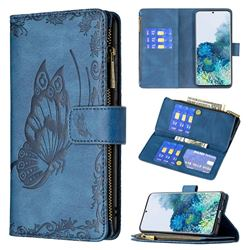 Binfen Color Imprint Vivid Butterfly Buckle Zipper Multi-function Leather Phone Wallet for Samsung Galaxy S20 Plus - Blue
