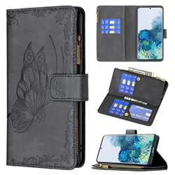 Binfen Color Imprint Vivid Butterfly Buckle Zipper Multi-function Leather Phone Wallet for Samsung Galaxy S20 Plus - Black
