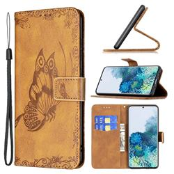 Binfen Color Imprint Vivid Butterfly Leather Wallet Case for Samsung Galaxy S20 Plus - Brown