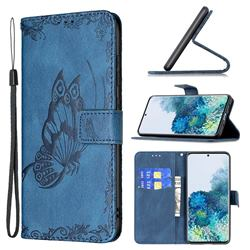 Binfen Color Imprint Vivid Butterfly Leather Wallet Case for Samsung Galaxy S20 Plus - Blue