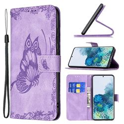 Binfen Color Imprint Vivid Butterfly Leather Wallet Case for Samsung Galaxy S20 Plus - Purple