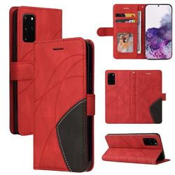 Luxury Two-color Stitching Leather Wallet Case Cover for Samsung Galaxy S20 Plus - Red