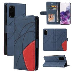 Luxury Two-color Stitching Leather Wallet Case Cover for Samsung Galaxy S20 Plus - Blue