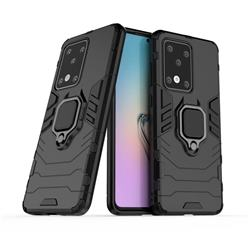 Black Panther Armor Metal Ring Grip Shockproof Dual Layer Rugged Hard Cover for Samsung Galaxy S20 Ultra / S11 Plus - Black
