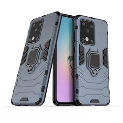 Black Panther Armor Metal Ring Grip Shockproof Dual Layer Rugged Hard Cover for Samsung Galaxy S20 Ultra / S11 Plus - Blue