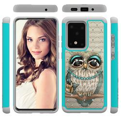 Sweet Gray Owl Studded Rhinestone Bling Diamond Shock Absorbing Hybrid Defender Rugged Phone Case Cover for Samsung Galaxy S20 Ultra / S11 Plus