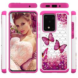 Rose Butterfly Studded Rhinestone Bling Diamond Shock Absorbing Hybrid Defender Rugged Phone Case Cover for Samsung Galaxy S20 Ultra / S11 Plus